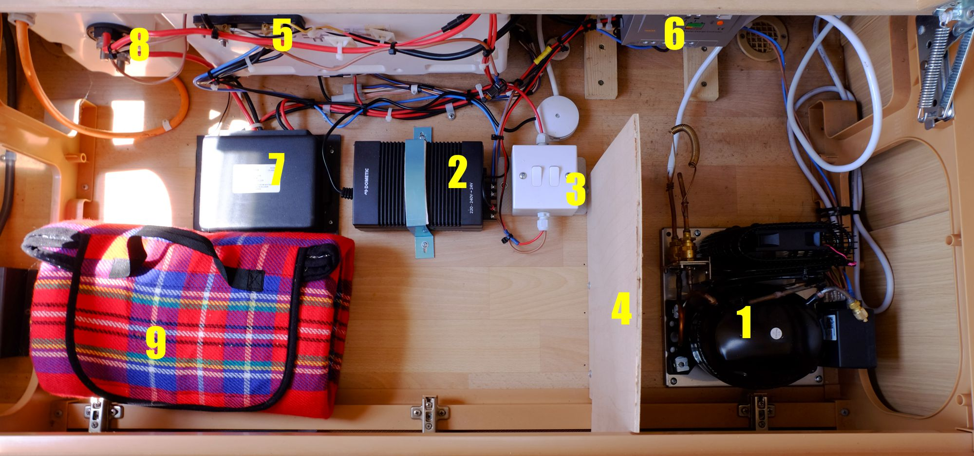 Full installation under the seat (key below)
